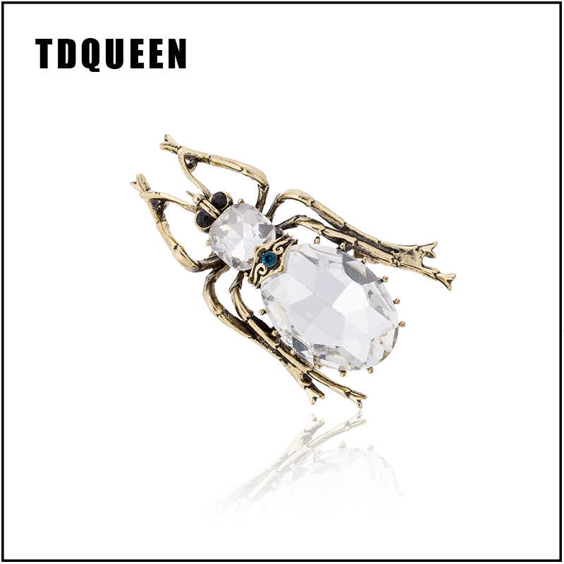 TDQUEEN Big Bugs Pins And Brooches for Women Clear Crystal Hijab Pin Party Suit Collar Jewelry Personality Vintage Beetle Broche