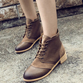 HOT 2017 Autumn Winter Women Lady Retro Fashion Female Lacing Square Heel Martin Boot Mujer Shoes Ankle Booties Shoes Botas G376