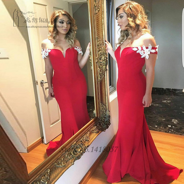 Sexy Red Formal Evening Gowns Dresses Long Robe de Soiree Courte off  Shoulder White Lace Mermaid Cheap Prom Dress 2017 Vestido db7345ec9085