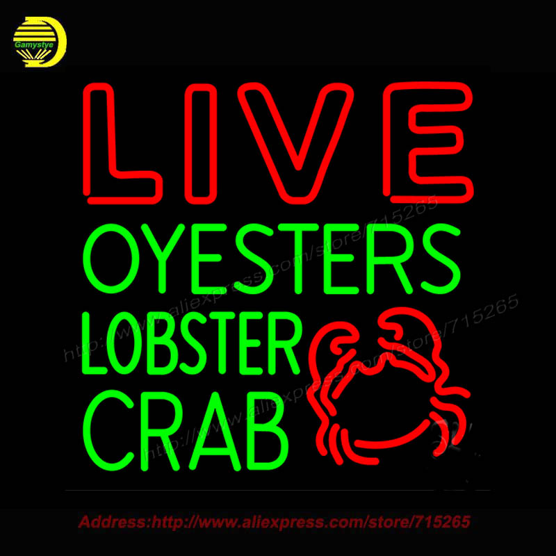 Live Oysters Lobster Crab With Logo Neon Sign Bioshock Plasmids Glass Bulbs Handcrafted Recreation Home Room Iconic Light 24x24