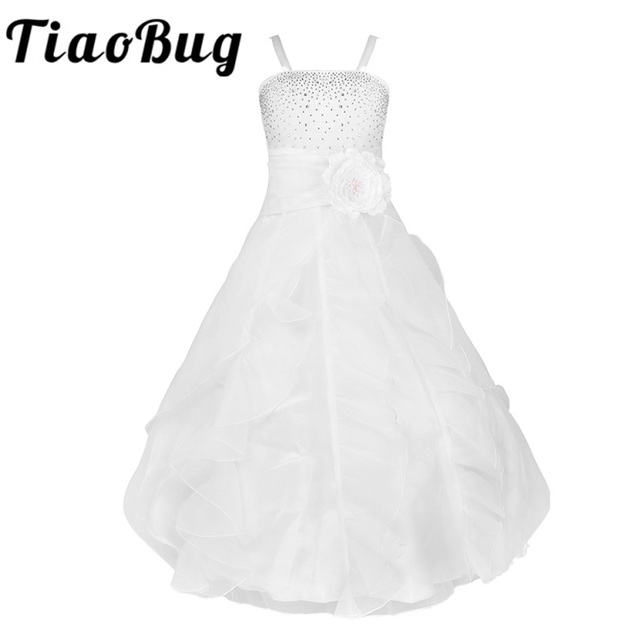 Beautiful S Sleeveless Flower Dress Organza Tutu Spaghetti Shoulder Straps Princess Long Wedding Party