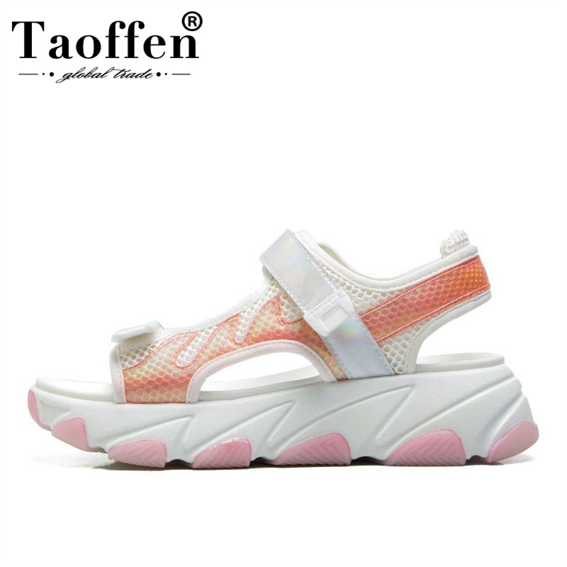 TAOFFEN Thick Sole Sandals Women Mesh Breathable Platform Shoes High Quality Summer Holiday Casual Shoes Women Size 35-40TAOFFEN Thick Sole Sandals Women Mesh Breathable Platform Shoes High Quality Summer Holiday Casual Shoes Women Size 35-40
