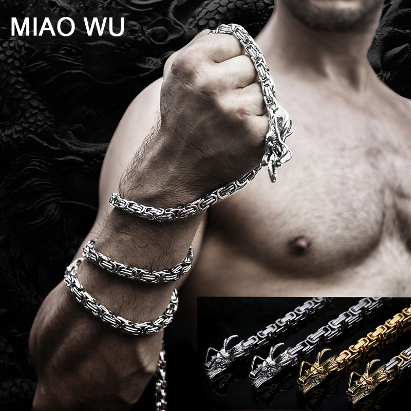 Heavy Stainless Steel Dragon Bracelet for Men Outdoor EDC Survival Tool Jewelry Hiphop Bracelet Men's Punk Waist Chains Necklace