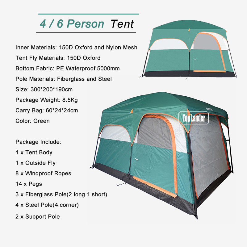 2 3.  sc 1 st  AliExpress.com & 4/6 Person Tents Outdoor Camping Tourism 2 Room Tent Double Layer ...