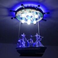 Творческий пиратский корабль LED подвесные светильники лодка личности детская комната лампа Средиземноморский стиль дерево руль освещения