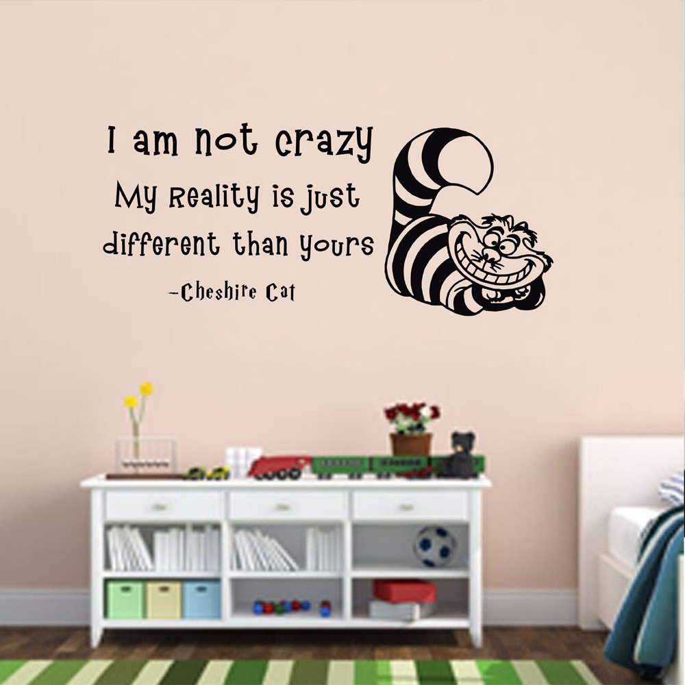 Decal china picture more detailed picture about wall decals wall decals alice in wonderland quote decal i am not crazy cheshire cat nursery sticker vinyl amipublicfo Images