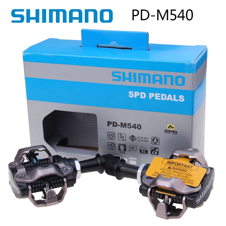 Shimano PD-M540 Self-Locking Clipless SPD Bike Pedal M540 MTB Mountain Bicycle Padals With Original PD22 Cleats shimano pd m540 m540 mtb spd pedals mtb bike bicycle cycling self locking pedal clipless spd sm sh51 cleats