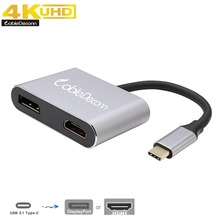 Thunderbolt 3 Hub USB-C Type-c to DisplayPort DP 4k 60Hz HDMI 4K 30Hz Female Cable Adapter Extending different Image for Macbook