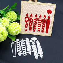 6PCS/Set Birthday Candle Label Metal Cutting Dies DIY Scrapbooking Stamps Craft Embossing Die Cut Making Stencil Template(China)