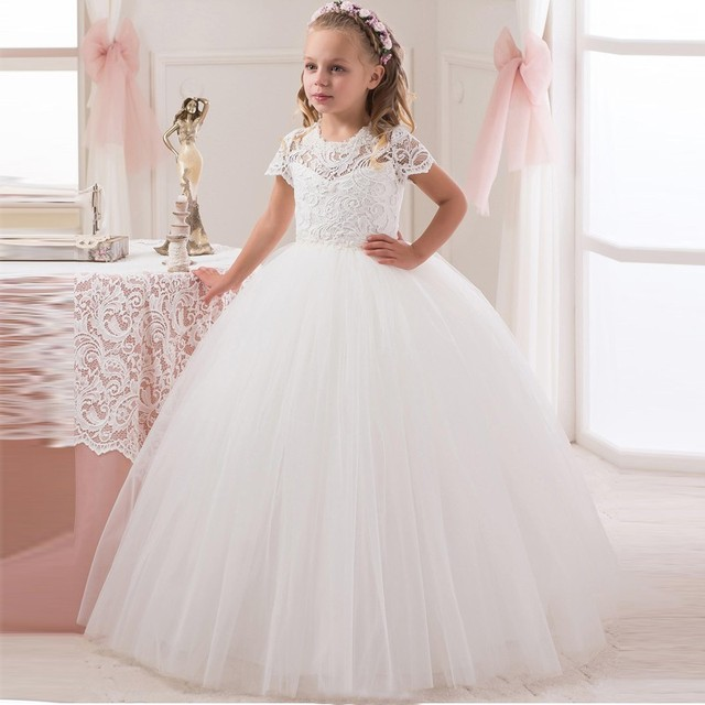 7c673fa91 Cute Short Sleeve White Ivory Lace First Communion Dresses For Girls 2018  Ball Gown Kids Girls Pageant Gown Flower Girl Dresses