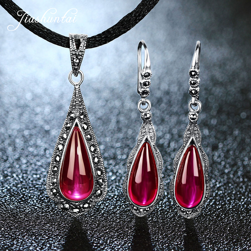 JIASHUNTAI Retro 100% 925 Sterling Silver Natural Ruby Red Gemstone Pendant Necklac Drop Earrings For Women Vintage Jewelry Sets