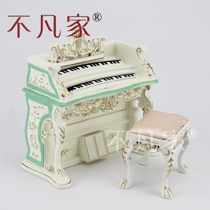 Dollhouse 1/12 Scale Miniature furniture exquisite white Hand piano and stool fit 1 6 12 dolls scene accessories piano red wood transparent piano stool set