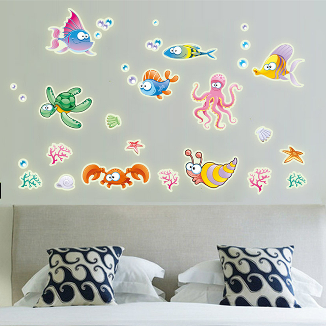 cartoon colorful underwater world fish wall stickers fluorescent