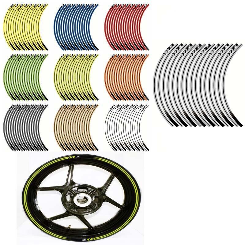 Motorcycle Wheel Decals Stickers Set Rim Stripes Laminated For Kawasaki Z125 Z250 Z300 Z650 Z750 Z800 Z900 Z1000