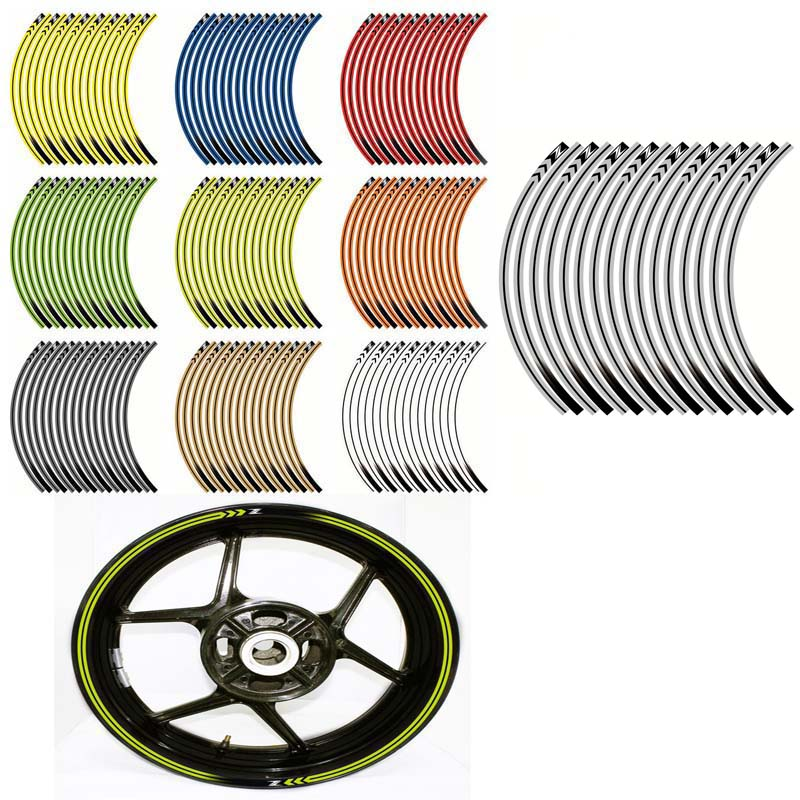 GREY//SILVER REFLECTIVE MOTORCYCLE RIM STRIPES WHEEL DECALS TAPE STICKERS GP STYL