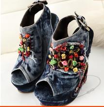 цены Blue Denim Water Wash Shallow String Bead Sandals Fashion A word Belt Cowboy Peep Toe Shoes High Heels Jean Free Shipping