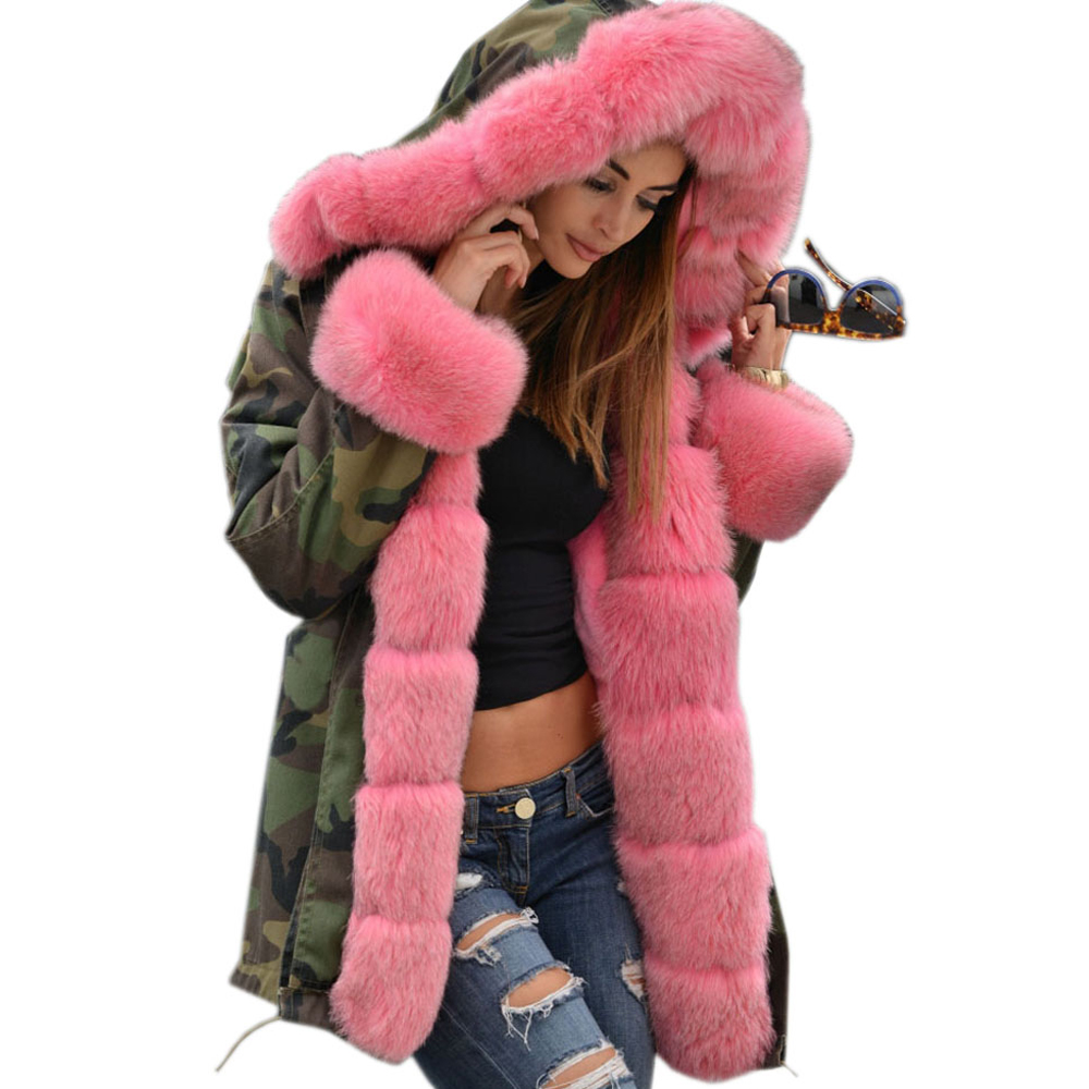 Roiii 2018 Winter Coat Thicken Pink Faux Fur Camouflage   Parka   Women Hooded Long Fashion Jacket Overcoat New Arrival
