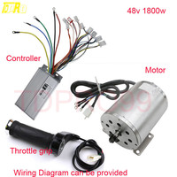 TDPRO 48V 1800W Brushless Electric Start Motor + Controller + Throttle Grip Twist For Go Kart Buggy Pitbike ATV Pocket Bike