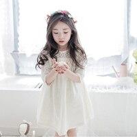 NEAT/2017 сезон весна-лето новая детская одежда для девочек в рукавах Открытое платье для девочек кружева шить платье простой wg1071 #