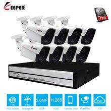 Keeper Sistema de videovigilancia H.265, Full HD, 1080P, 8 canales, 8 Uds., cámara IP de Metal para exteriores de 2MP, 8CH, NVR POE, HDMI, P2P, alarma de correo electrónico 4