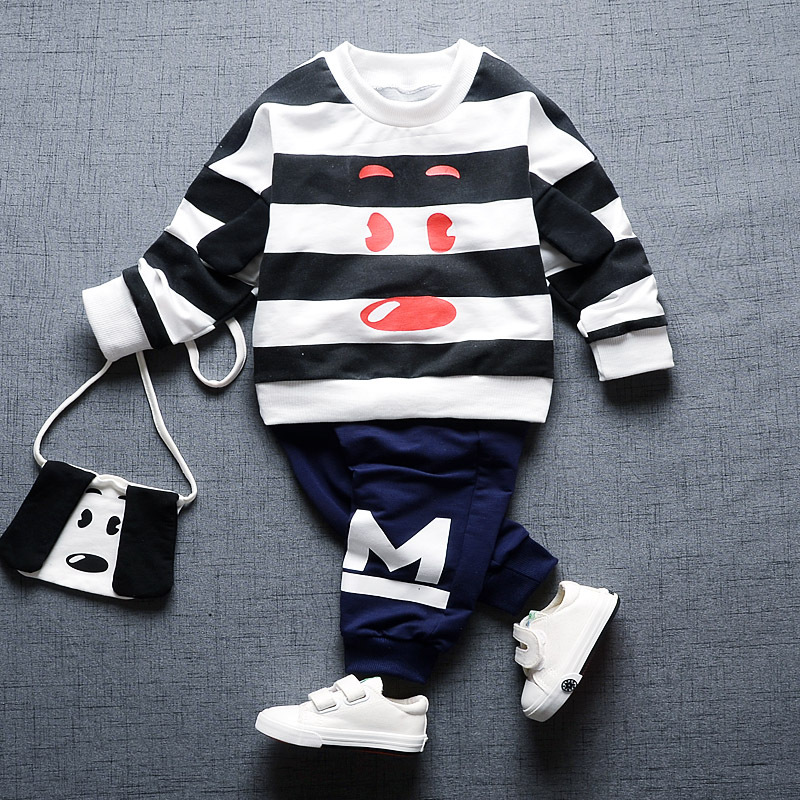 2017 New Baby Baby Girls Clothes Long Sleeve Cartoon Striped Dog T-shirt+pants 2pcs Suit Cotton Baby Boys Newborn Clothing Set cotton baby rompers set newborn clothes baby clothing boys girls cartoon jumpsuits long sleeve overalls coveralls autumn winter