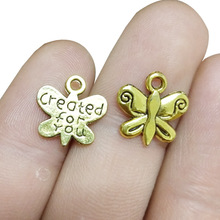 TJP 30pcs Antique Gold Tone created for you Butterfly Charms Pendants Beads DIY Necklace Jewelry Making Findings 14x13mm