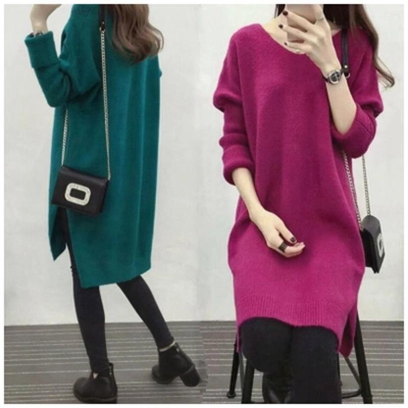 Maternity Fall/Winter Maternity Dress Long Sleeve Knit Top Bottoming Shirt Pregnant Women's Sweater bell sleeve rib knit dress