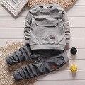2016 Moda Otoño invierno Bebé Infantil Chicos Tops Chándales Pantalones Caliente gruesa de algodón acolchado Set 2 piezas Traje de Paño establece 1-4Y