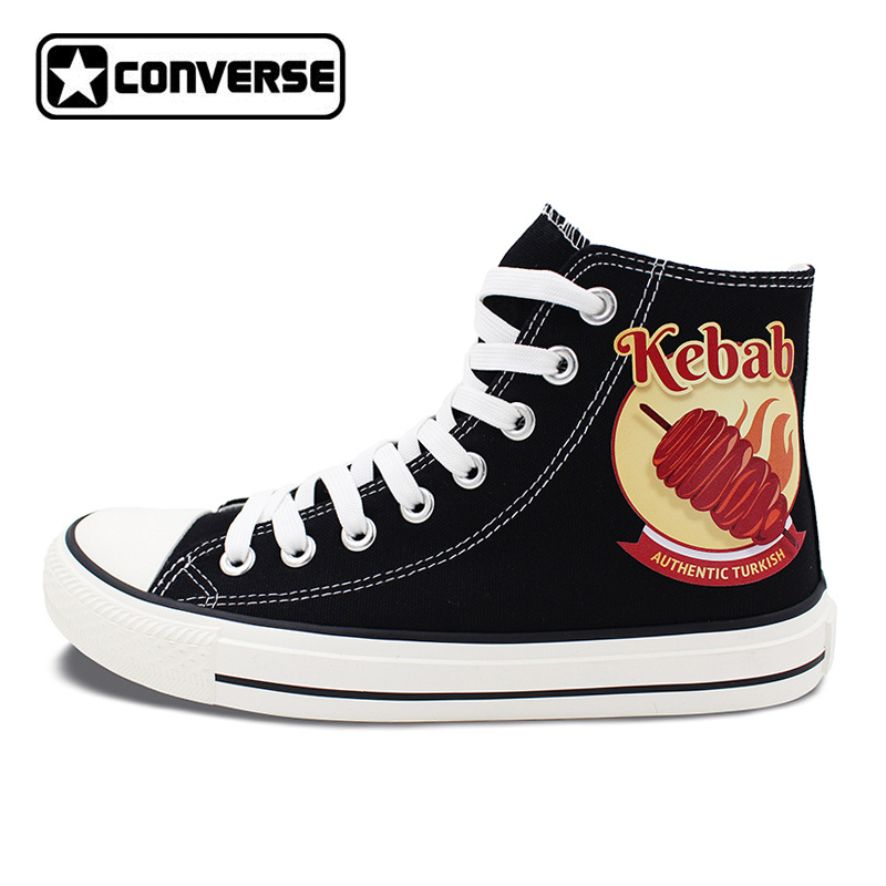 Black Shoes Converse Chuck Taylor Men Women's Flats Design Kebab High Top Canvas Sneakers Lace Up for Gifts 1pc hot sale 100%quality guaranteed doner kebab slicer two blades electrical kebab knife kebab shawarma gyros cutter