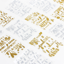 1 pcs english letter gold silver glitter dust sticker diy handmade gift card gift bag
