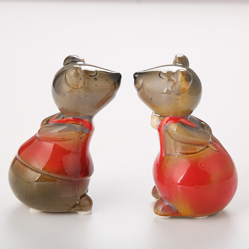 Sweet Couple Mice Crafts Decoration Cute Mouse Festive Craft Accessories Ceramic Lovely Ornament Christmas Wedding Gift in Figurines Miniatures from Home Garden