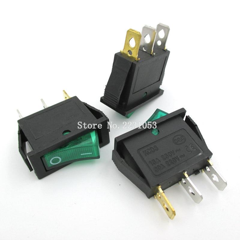 5PCS/LOT Green LED Light SPST 3 Pin ON/OFF Boat Rocker Switch 16A/250V 20A/125V Switches KCD3-101N KCD2