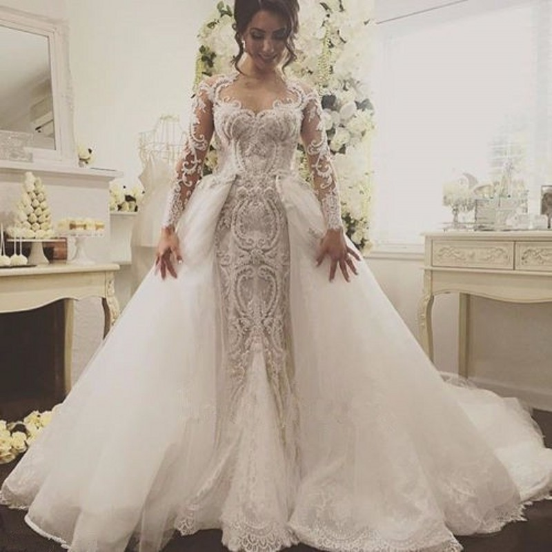 Buy 2017 detachable train a line lace for Modern long sleeve wedding dresses