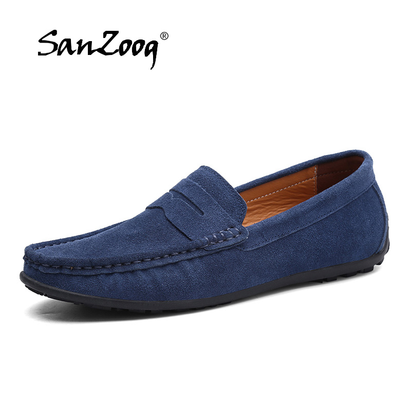 New Design Men Casual   Suede     Leather   Loafers Blue Solid   Leather   Driving Moccasins Gommino Slip On Loafers Men Loafer Big Size