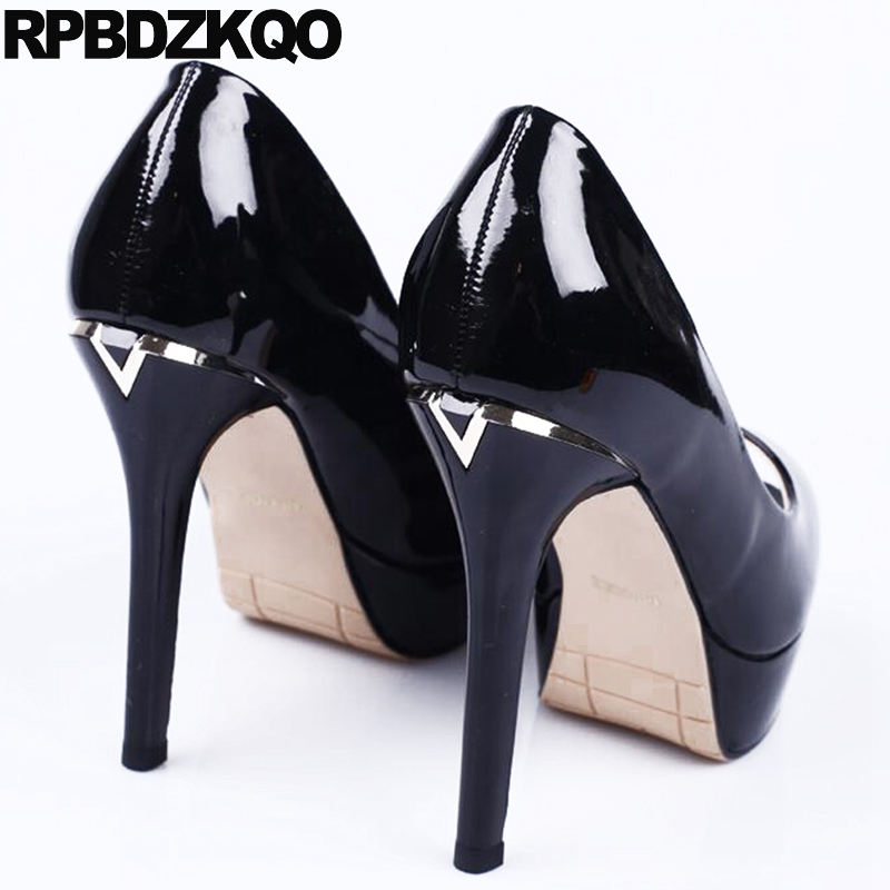 Super Extreme Platform Black Stiletto Ultra 12cm 5 Inch Stripper Ladies  Party High Heels Patent Leather Fetish Shoes Peep Toe-in Women s Pumps from  Shoes on ... d3b381f62dd4