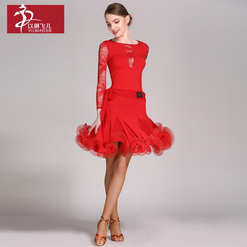 New fashion Women Latin Dance Costume Adult Samba Rumba Tango Latin Dance top+Skirt suits