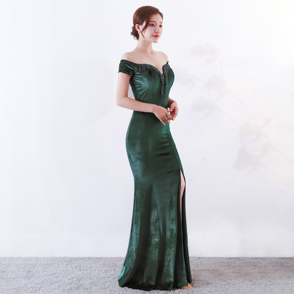 Women Elegant Sexy Appliques Velvet Wine Red Off Shoulder V-Neck Long Mermaid Slim Slit Club Party Dress Vestidos (14)