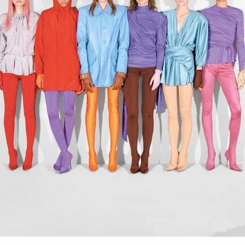 Prova Perfetto yeni moda kırmızı pantolon uyluk yüksek çizmeler kadın sivri burun seksi Stilettos elastik çorap bel Bootcuts yüksek topuklu ayakkabılar