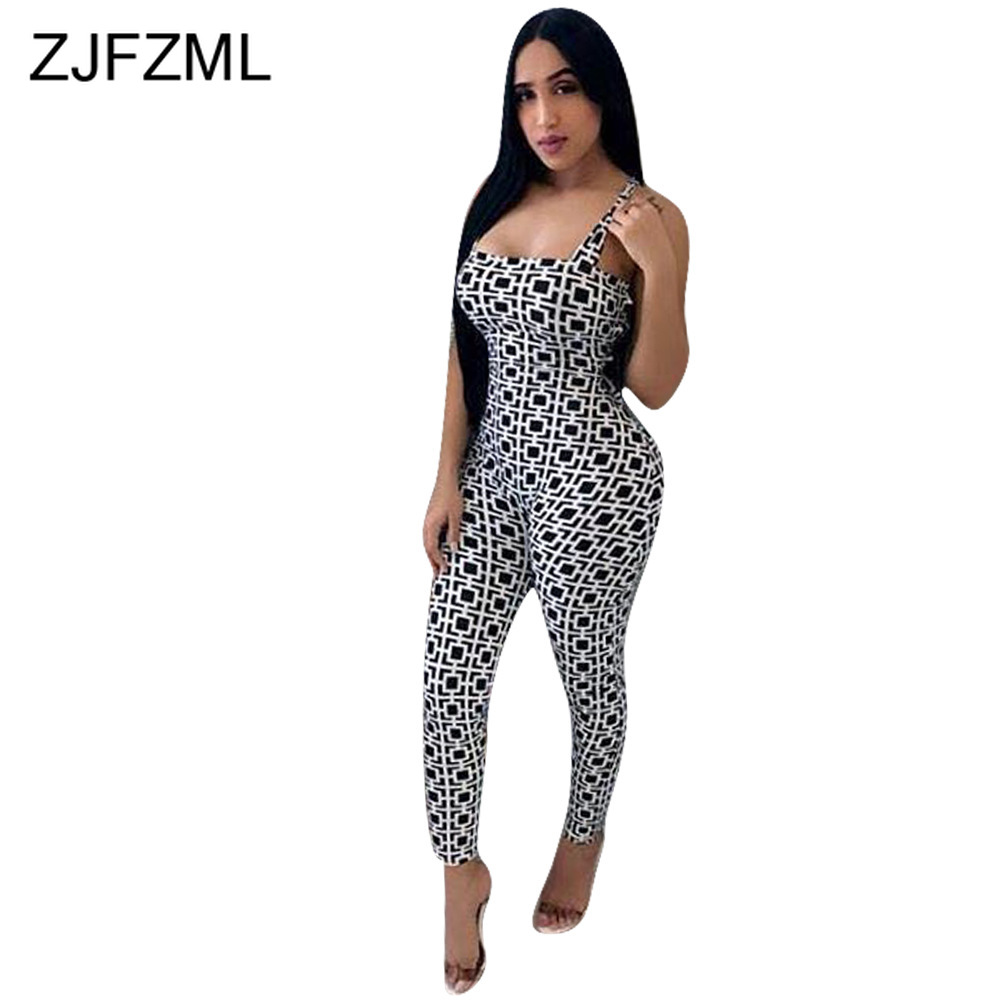 Geometric Pattern Sexy Bodycon Jumpsuits Women Spaghtti Strap Sleeveless Skinny Catsuit Summer Strapless Backless Party Romper