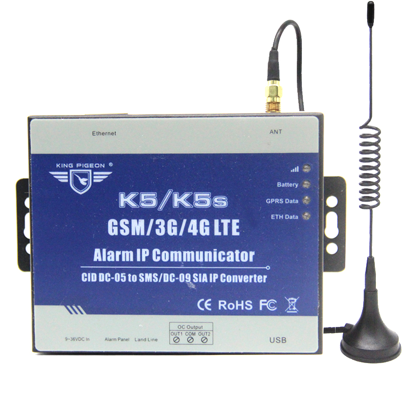 GSM SMS/GPRS/Ethernet converter for alarm system converter the PSTN Ademco Contact ID Control panel to SMS alert and SIA K5SGSM SMS/GPRS/Ethernet converter for alarm system converter the PSTN Ademco Contact ID Control panel to SMS alert and SIA K5S