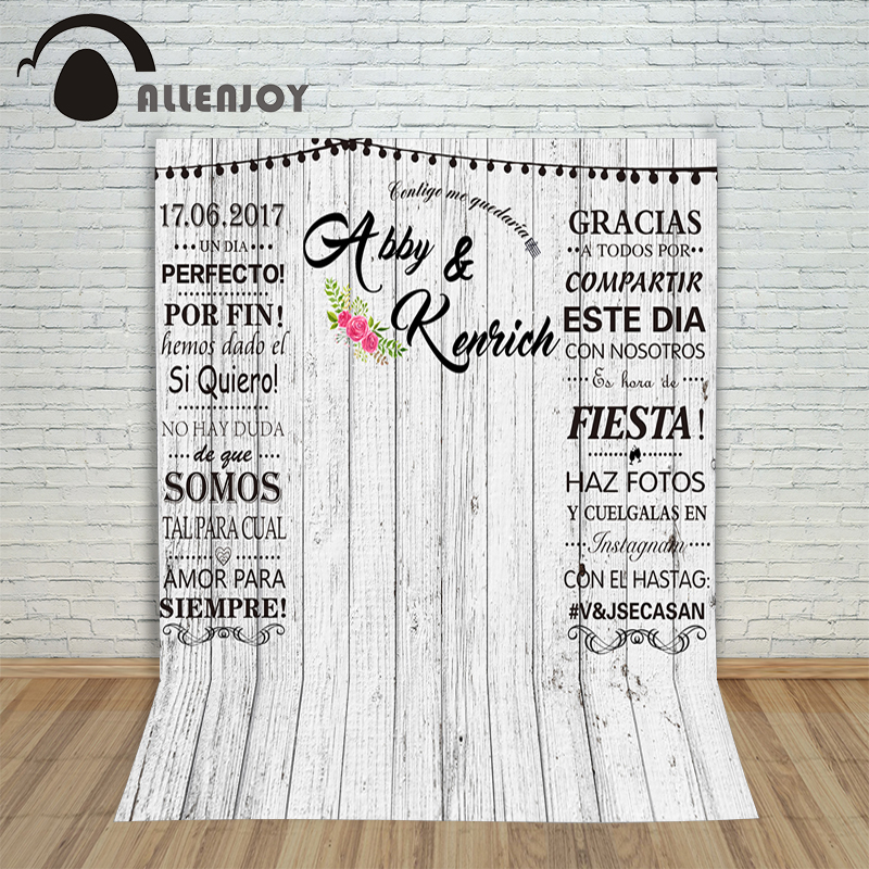 Allenjoy photography backdrops White wood photocall for weddings customization baby Photo background for photo studio