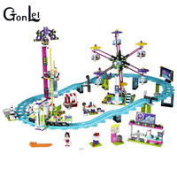 (GonLeI) 10563 Amis Parc D'attractions Montagnes Russes Blocs de Construction Classique Pour Fille Enfants Modèle Jouet Compatible avec kid cadeau