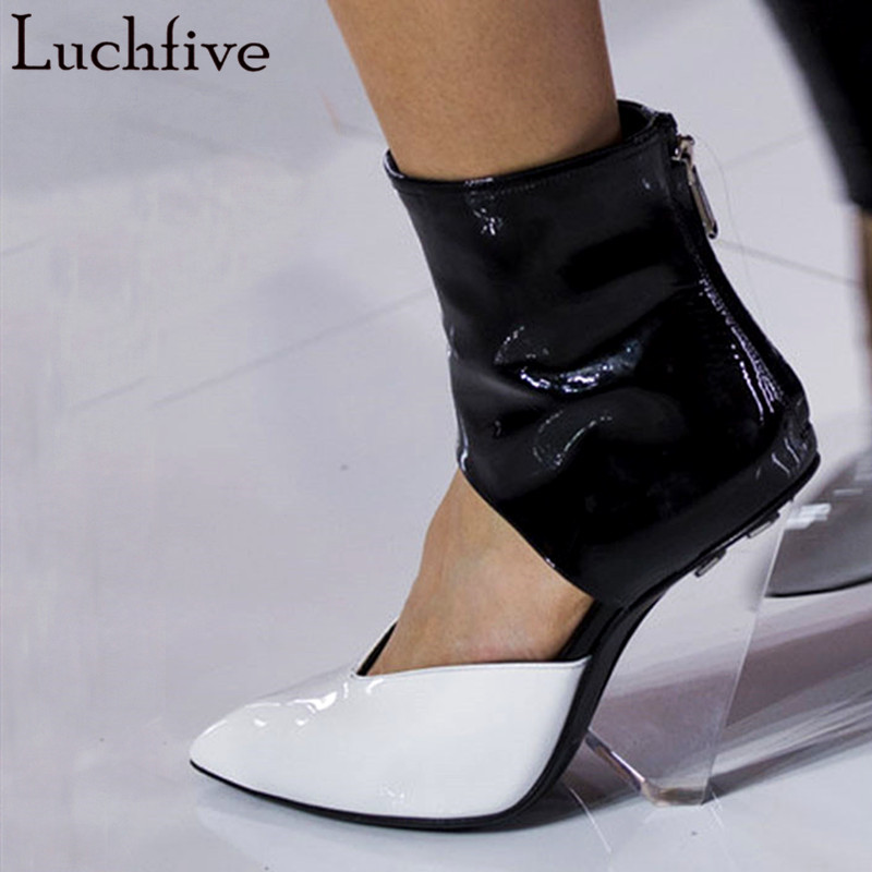 Luchfive Clear Wedge Heel Pumps PVC Patent Leather Runway Design High Heels Crystal Slippers 2019 Newest