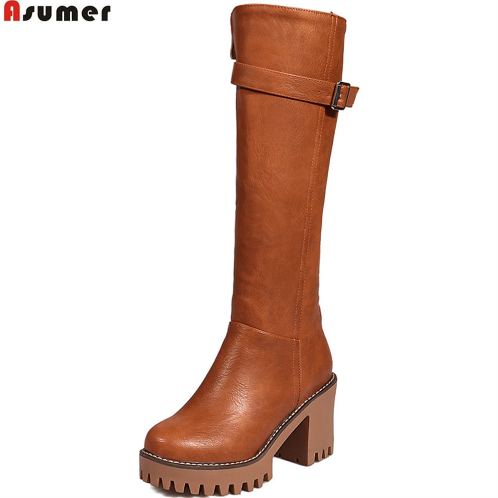 ASUMER black gray brown beige fahsion women boots round toe zipper ladies boots square heel platform buckle knee high boots b brown brown travels through the mind of india