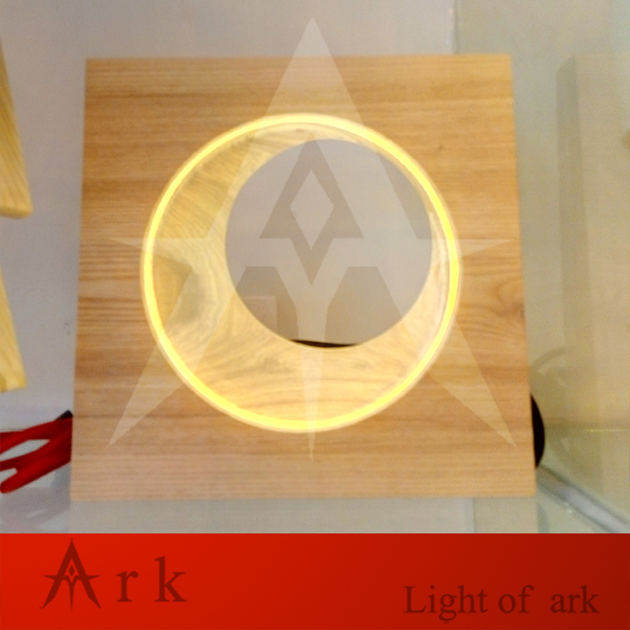 Birthday Gift Wooden Crescent Moon Picture Creative Decoration Led