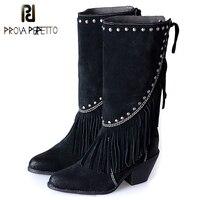 Prova Perfetto в богемном стиле; мотоботы на высоком массивном каблуке средней высоты; ковбойские ботинки с бахромой; женские ботинки с заклепками