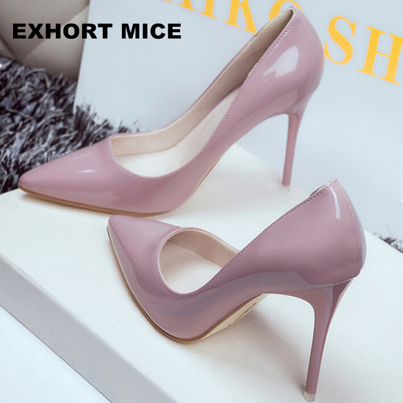 2020 Women Shoes Pointed Toe Pumps Patent Leather Dress Shoes High Heels Boat Shoes Wedding Shoes Zapatos Mujer 10cm/7cm/4cm