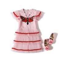 New Summer Baby Girls High Quality Embroidery Mesh Pleats Dress Princess Kids Brand Clothing 6 Pieces