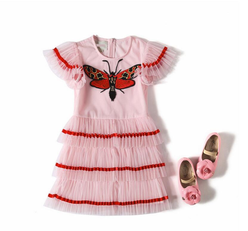 цены New Summer Baby Girls High Quality Embroidery Mesh Pleats Dress, Princess Kids Brand Clothing 6 pieces/lot, Wholesale