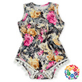 2016 Baby Girls Flower Print Lace Rompers One-Pieces Multi Color Sweet Summer Toddler Baby Clothing
